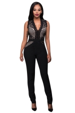 Womens V-neck Lace Patchwork Sleeveless High Waist Jumpsuit Black