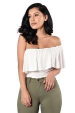 Womens Ruffled One Shoulder Plain One Piece Bodysuit White