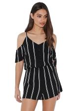 Womens V-neck Cold Shoulder Striped Printed Romper Black