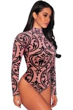 Womens Sexy Sheer Mesh Print Long Sleeves Bodysuit Pink