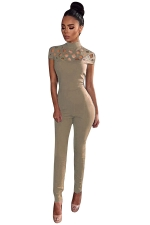 Womens Mock Neck Cut Out Short Sleeve High Waist Jumpsuit Apricot