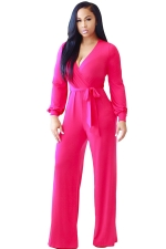 Womens V Neck Lace-up High Waist Palazzo Jumpsuit Rose Red