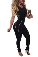 Womens Sides Keyhole Lace-up High Waist Plain Catsuit Black