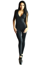 Womens V Neck Cross Backless High Waist Yoga Sports Jumpsuit Black