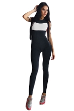 Womens Color Block Cross Bandage Back Sports Jumpsuit White