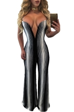 Womens Sexy Strapless White Stripes Deep V-Neck Jumpsuit Black