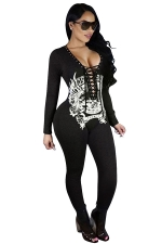 Womens Lace-up Deep V Neck Cutout Back Long Sleeve Catsuit Dark Gray