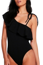 Womens Ruffle One Shoulder Strap Bodysuit Black
