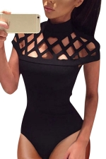 Womens Sexy Cutout Fitting Bodysuit Black