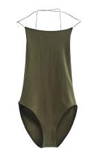 Womens Sexy Cross Straps Backless Bodysuit Army Green