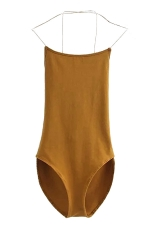 Womens Sexy Cross Straps Backless Bodysuit Yellow
