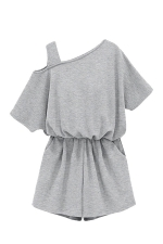 Womens Plus Size One Shoulder Elastic Waist Romper Gray