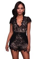 Womens Deep V-neck Lace Fitting High Waist Romper Black