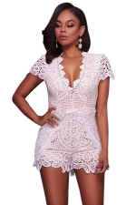 Womens Deep V-neck Lace Fitting High Waist Romper White