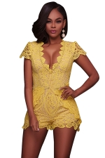 Womens Deep V-neck Lace Fitting High Waist Romper Yellow