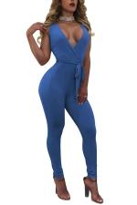 Womens Sexy Deep V-neck Fitting High Waist Sleeveless Jumpsuit Blue