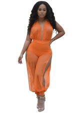 Womens Sexy Mesh Deep V-neck Backless Knickerbockers Jumpsuit Orange