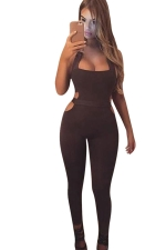 Womens Sexy Halter Backless Hollow Out Waist Jumpsuit Black