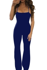 Womens Sexy Crisscross Straps Backless Wide Legs Jumpsuit Blue