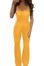 Womens Sexy Crisscross Straps Backless Wide Legs Jumpsuit Yellow