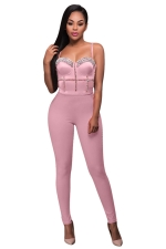 Womens Sexy Straps Nail Bead Fitting High Waist Jumpsuit Pink