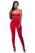 Womens Sexy Straps Nail Bead Fitting High Waist Jumpsuit Red