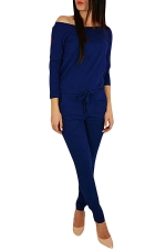 Womens Hollow Out Shoulder Draw String Waist Jumpsuit Blue