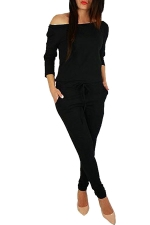 Womens Hollow Out Shoulder Draw String Waist Jumpsuit Black