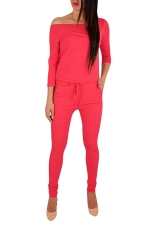 Womens Hollow Out Shoulder Draw String Waist Jumpsuit Watermelon Red