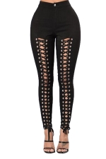 Womens Lace-up Hollow Out Plain High Waist Leggings Black