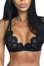 Womens Sheer Hollow Out Lace Unpadded Bra Black