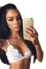 Womens Sheer Hollow Out Lace Unpadded Bra White