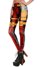 Womens Elastic Digital Armour Printed Ankle Length Leggings Red