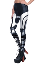 Womens Elastic Digital Armour Printed Ankle Length Leggings Black