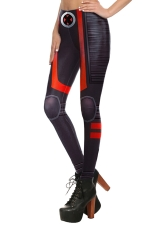 Womens Digital Armour Printed Elastic Ankle Length Leggings Red