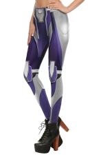 Womens Elastic Digital Armour Printed Ankle Length Leggings Gray