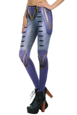 Womens Digital Armour Printed Elastic Ankle Length Leggings Blue