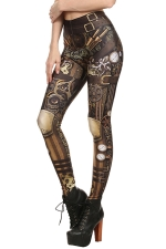 Womens Elastic Digital Armour Printed Ankle Length Leggings Brown