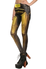 Womens Elastic Digital Armour Printed Ankle Length Leggings Gold
