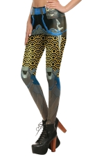 Womens Elastic Digital Armour Printed Ankle Length Leggings Yellow