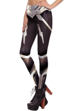 Womens Digital Armour Printed Elastic Ankle Length Leggings Black