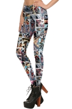 Womens Elastic Digital Poster Printed Ankle Length Leggings Blue