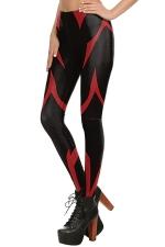 Womens Stretchy Digital Printed Ankle Length Leggings Red
