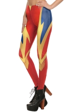 Womens Stretchy Digital Printed Color Block Ankle Length Leggings Red