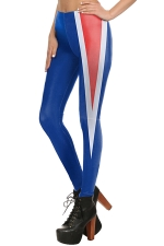 Womens Stretchy Digital Printed Color Block Ankle Length Leggings Blue