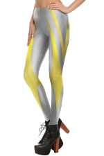 Womens Digital Printed Color Block Ankle Length Leggings Yellow