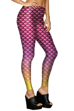 Womens Stretchy Digital Mermaid Fish Scale Printed Leggings Rose Red