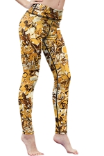 Womens High Waist Digital Printed Yoga Sports Leggings Brown