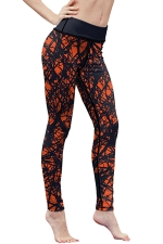 Womens High Waist Digital Printed Yoga Sports Leggings Orange