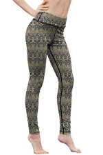 Womens High Waist Digital Printed Yoga Sports Leggings Khaki